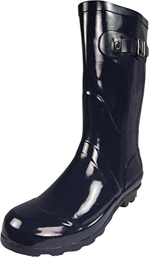 Hurricane Rain Boot - NORTY - Womens Hurricane Wellie Gloss Mid-Calf Rain Boot, True Navy 39696-8B(M) US