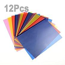 "LEMO 12Pcs 4 Color 8"" x 11"" Transparent Correction Gel Lighting Filter / Colored Overlays / Tinted Plastic Film Sheet TO401"