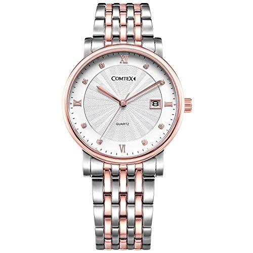 Comtex Men's Watches Luxury Two-Tone Bangle Watch Design Stainless Steel Bracelet Quartz Wristwatch (Rosegold)