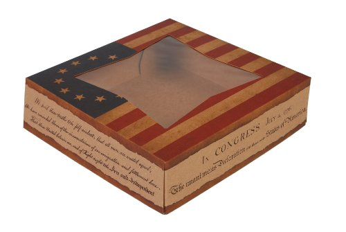 """Price comparison product image Southern Champion Tray 2484 USA Kraft Paperboard Flag Design Print Window Bakery Box,  10"""" Length x 10"""" Width x 2-1 / 2 Height (Case of 150)"""