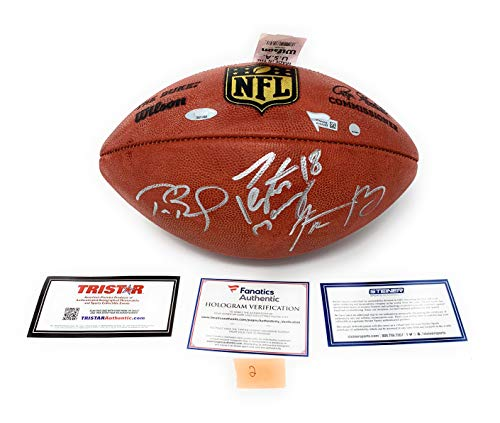 Tom Brady Aaron Rodgers Peyton Manning TRIPLE Signed Autograph NFL Authentic Duke NFL Football Steiner Sports Tristar Fanatics Certified #2