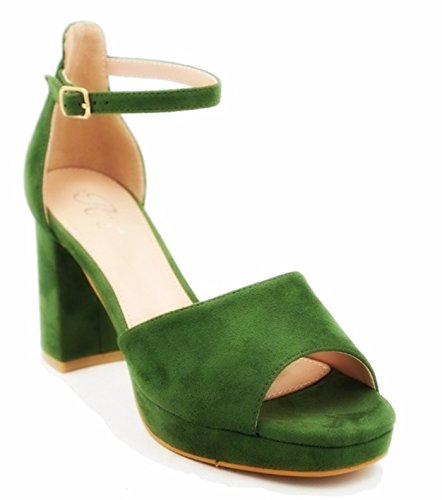 King Of Shoes Women's Ankle-Strap Green eftSqrUKJ