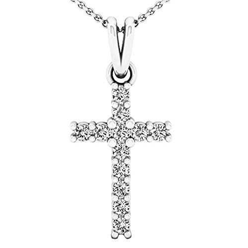 Dazzlingrock Collection 0.15 Carat (ctw) 10K White Gold Round White Diamond Ladies Cross Pendant (Silver Chain ()