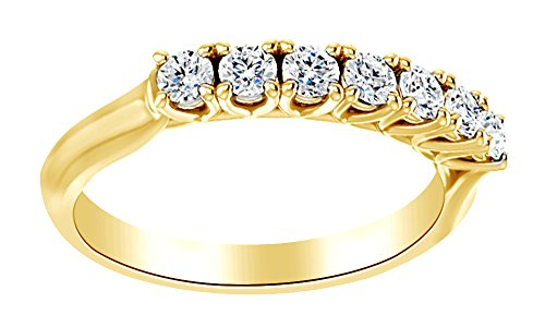 AFFY Round Cut White Natural Diamond Seven Stone Anniversary Band Ring in 14K Solid Yellow Gold, Ring Size-13