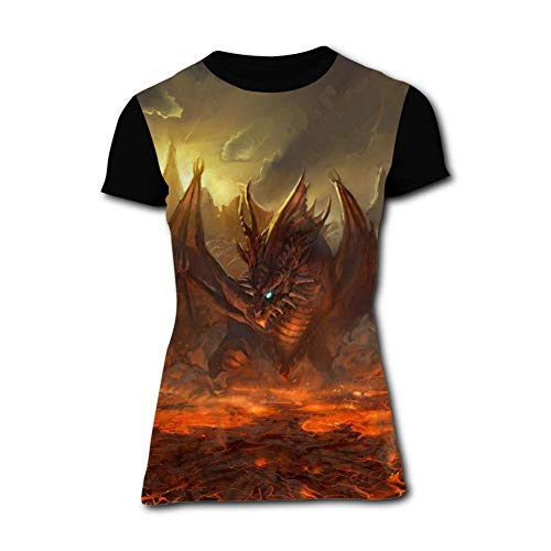 Women's T-Shirt Fire Dragon Graphic 3D Printed Short Sleeve T Shirt Tops Fashion Tees