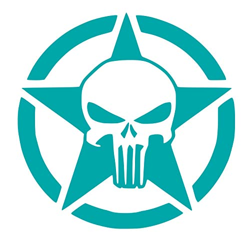 - UR Impressions Teal 7.5in. Army Star Oscar Mike Punisher Decal Vinyl Sticker Graphics for Cars 4X4 Trucks SUV Vans Walls Windows Laptop|Teal|7.5 inch|URI701-T