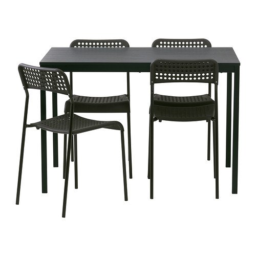 """Ikea Table and 4 chairs, black 43 1/4 """", 16202.5220.382"""