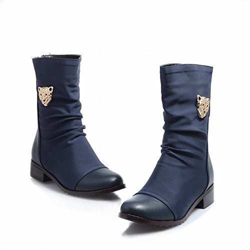 Carol Shoes Women's New Style Contrast-stitching Low Heel Martin Boots Blue mvFDTp1cnd