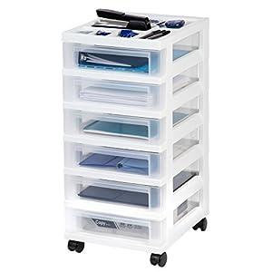 IRIS 6-Drawer Rolling Storage Cart with Organizer Top, White