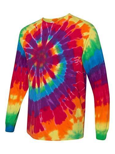 (Gildan Tie Dye 70LS Men's Long-Sleeved Rainbow Swirl T shirt 3XL Rainbow Swirl)