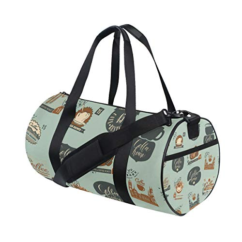 YCHY Vector-Seamless-Pattern-Postage-Stamps-Other-1030814362 Barrel Duffel Bag Sports Yoga Gym Fitness Bag Travel Weekender Bags for Men and Women