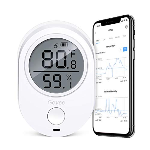 Govee Temperature Humidity Monitor, Indoor Wireless Thermometer Hygrometer Gauge, Bluetooth Temp Humidity Sensor with Alert, Data Export for Home Room House Garage Cigar Humidor Wine Cellar Greenhouse (Best App For Room Temperature)