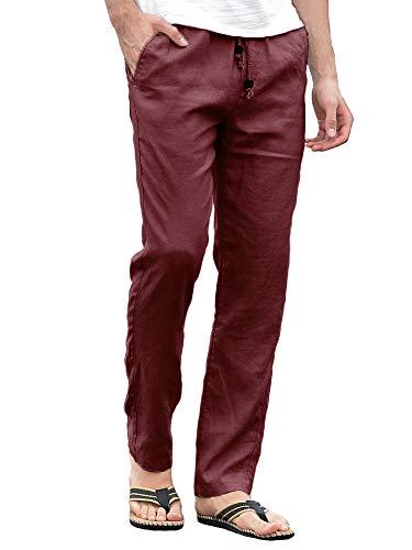 Runcati Mens Linen Pants Beach Casual Regular Fit Elastic Waist Drawstring Summer Trousers with Pockets