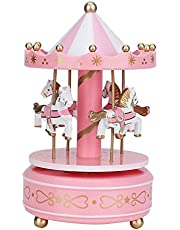 Merry-Go-Round muziekdoos carrousel cadeau kerst bruiloft verjaardag Valentijn cadeau vintage decor voor kinderen meisjes vrienden(Roze)