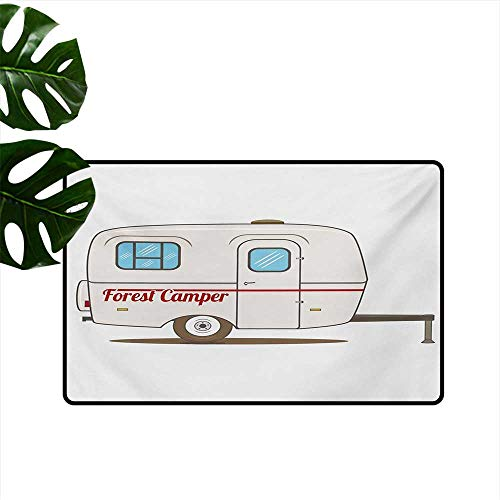 Home Custom Floor mat,Cute Vintage Van Recreational Caravan Travelers Truck on The Road Retro Graphic Design 32