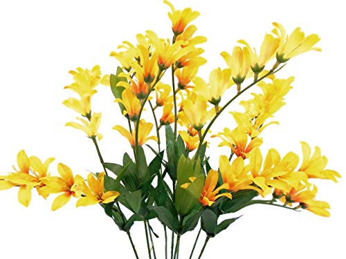 Yellow Freesia Bush 9 Artificial Silk Flowers 21