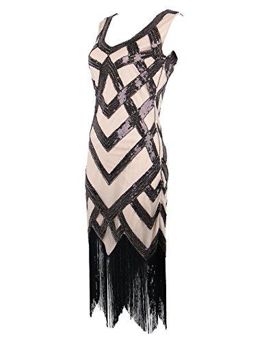 Sequin Art 1920'S Meilun Vintage Dress Women's Flapper Beige Deco Gatsby Beads Fringed F04q4a