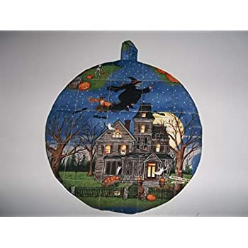 Quilted Halloween Pot Holders Haunted House Heat Resistant Handmade Double Insulated Hot Pads Trivets 9 Inches Round