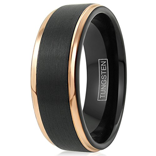 King's Cross Personalized Engraved Beautiful Black 6mm/8mm Tungsten Wedding Band w/Exquisite Rose Gold Stepped Edges. (tungsten (8mm), 8.5) by King's Cross