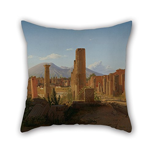Bke Leather (Oil Painting Christen Schjellerup K?bke (Danish - The Forum At Pompeii With Vesuvius In The Background Pillowcover 18 X 18 Inches / 45 By 45 Cm For Lounge Car Seat Husband Relatives Her Wedding Wi)