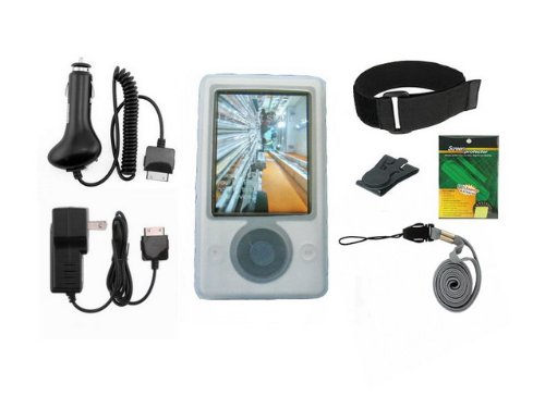 iShoppingdeals - White Silicone Skin Case Cover w/ Armband and Clip + Car Charger + Travel AC Wall Charger + Screen Protector for Microsoft Zune 30GB MP3 Player