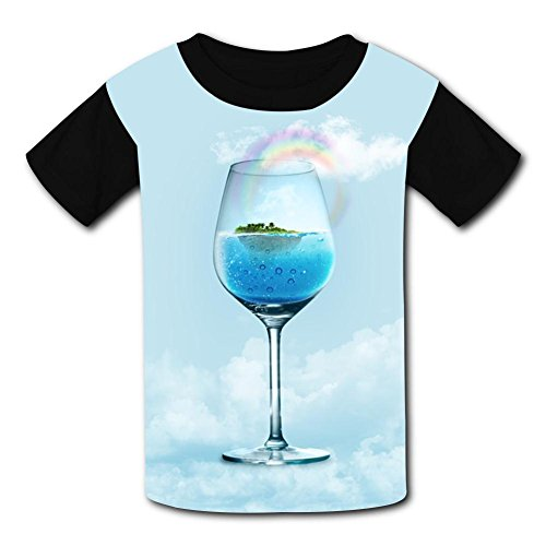 The Sea In The Goblet Child Short Sleeve Fashion T-Shirt Of Boys And Girls L (Goblet Fish Design)