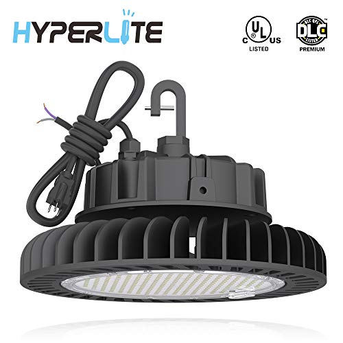 HYPERLITE LED UFO High Bay Lights 250W 35,000LM (140lm/w) 4000K 1-10V Dimmable 5 Cable with 110V Plug Hanging Hook Safe Rope UL/DLC Approved for Shopping Mall Stadium Exhibition Hall