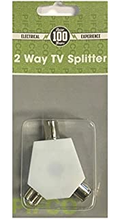 2 WAY TV AERIAL COAX COAXIAL SPLITTER - Y ADAPTOR ARIEL DUAL CONVERTER CABLE by Guilty