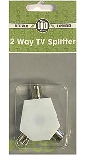 2 WAY TV AERIAL COAX COAXIAL SPLITTER - Y ADAPTOR ARIEL DUAL CONVERTER CABLE by Guilty