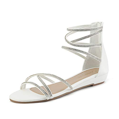 - DREAM PAIRS Women's Weitz White Ankle Strap Rhinestones Low Wedge Sandals - 11 M US