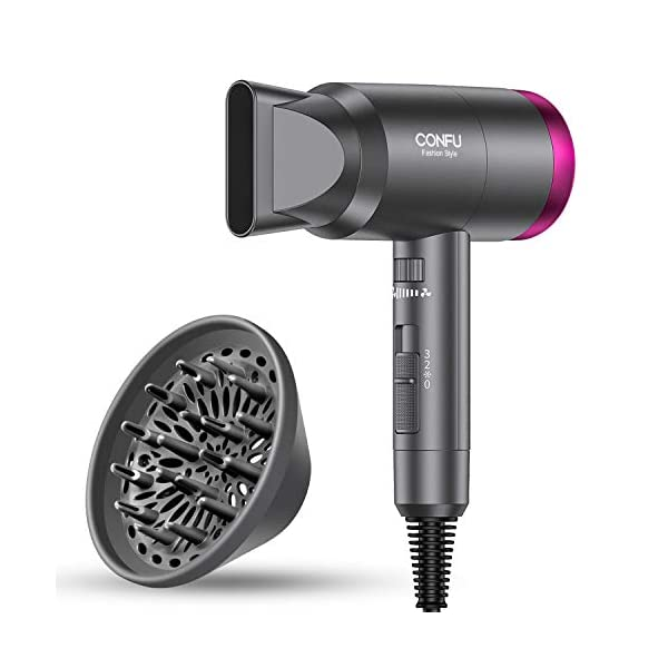 Ionic Hair Dryer, CONFU 1600W Negative Ion Hair Dryer, Fast Drying Lightweight Blow Dryer, 3 Heat Settings & Infinity… 1