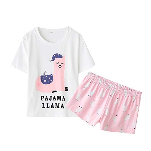 YIJIU Women Short Sleeve Tee and Shorts Pajama Set Cute Cartoon Print -