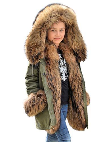 Kids Faux Fur Jacket - Roiii Faux Fur Children Parka Jacket Coats Kids Universal Winter Coat Casual Hooded Warm Trench Outwear for Girls Boys (8/9 Year, AmryGreen)