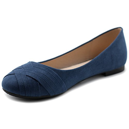 Ballet Comfort Navy Ollio Flat Cute Womens Shoe Casual Ollio Womens qw0at