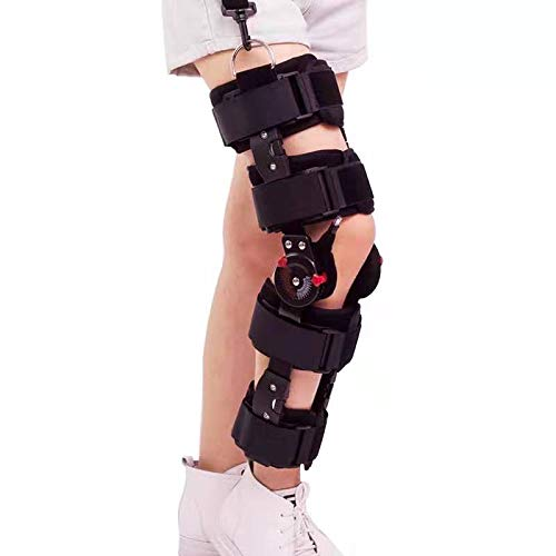 Hinged ROM Knee Joint Support Brace, Adjustable Knee Stabilizer Fracture Fixator Stent Orthosis Rehabilitation Kneepad for Injury Recovery Pain Relief, Adjustable,Black