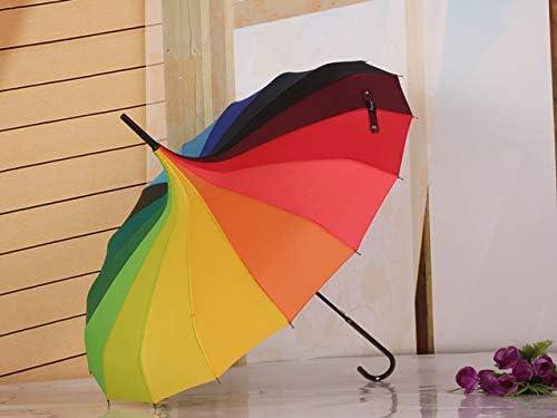 Lipiy Regenbogen-Regenschirm-Langer Handregen-sonniger bunter Regenschirm-Fotografie-Props-Geschenk-Prinzessin Umbrella