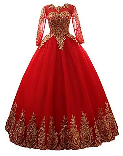 - Meijia Handicraft Gold Lace Applique Quinceanera Dresses Prom Bateau Ball Gown