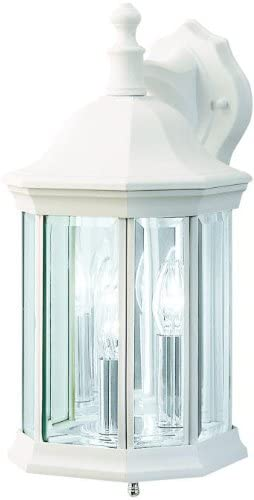 Kichler 9777WH, Chesapeake Cast Aluminum Outdoor Wall Sconce Lighting, 180 Total Watts, White