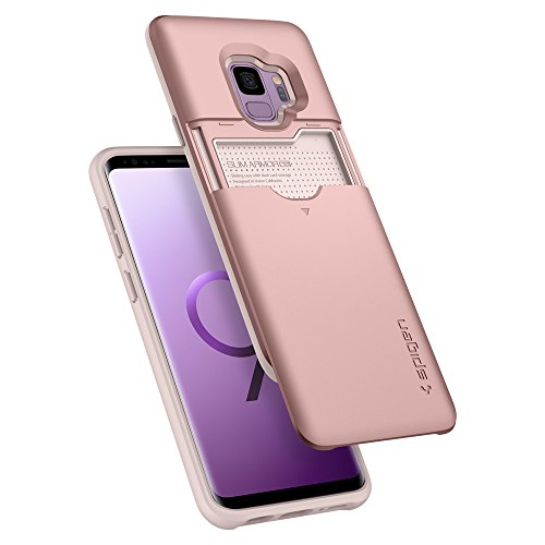 Spigen Slim Armor CS [Updated Version] Galaxy S9 Case with Slim Dual Layer Wallet Design and Card Slot Holder for Samsung Galaxy S9 (2018) - Rose Gold