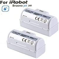 TOPCHANCES 2 Pack High Capacity 3.6V 5.3ah Replacement Li-ion Battery for for iRobot Braava Jet 240 Floor Mopping Robots (White)
