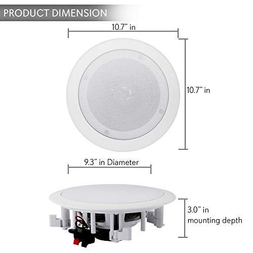 """Pyle Pair 8"""" Bluetooth Flush Mount In-wall In-ceiling 2-Way Universal Home Speaker System Spring Loaded Quick Connections Polypropylene Cone Polymer Tweeter Stereo Sound 250 Watts (PDICBT852RD)"""