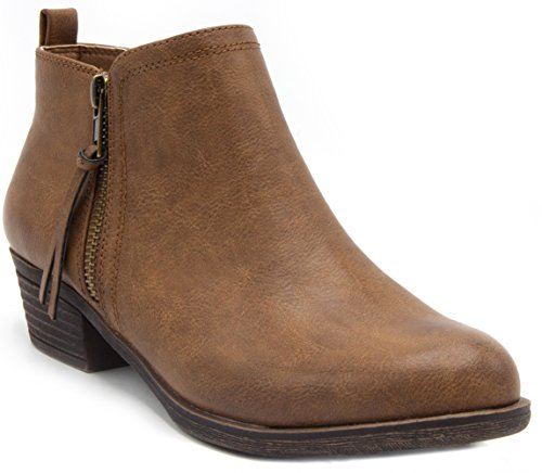 Sugar Women's Truffle Ankle Bootie Boot with Zipper Closure Brown 8.5