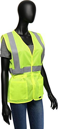 (West Chester 47207 Class 2 High Visibility Ladies Fitted Mesh Vest: Green, Small/Medium)