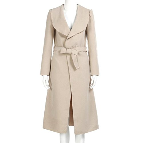 Women's Cashmeres Coats Belted Shawl Collar khaki - 9