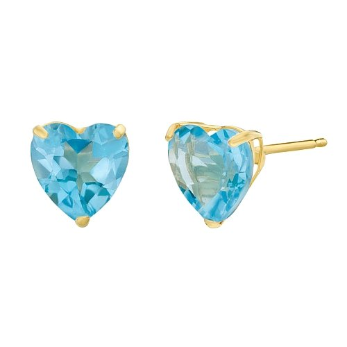 6mm Heart Blue Topaz Earring - 1.90 cttw Heart 6MM Natural Blue Topaz 10K Yellow Gold Stud Earrings
