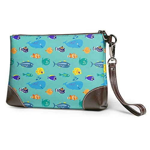 Women's Leather Zipper Wristlet Whale Fishes Hand Drawn Cellphone Card Wallets Clutch Holder Purse