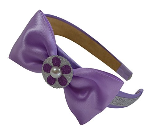 Sparkling Glitter Satin Bow Lavender Sophia Princess Headband for Preschoolers and -