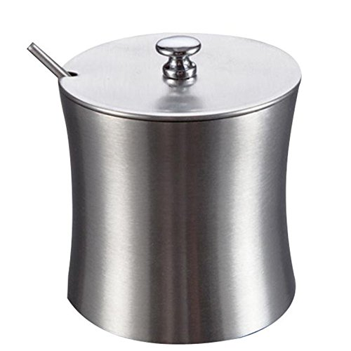 vanpower Stainless Steel Sugar Salt Bowl with Lid and Sugar Spoon for Home (Silver Salt Cellar)