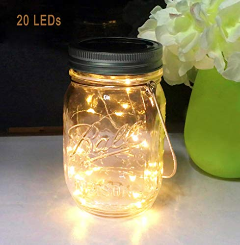 Aubasic Solar Mason Jar Lights, 20 Leds Waterproof Fairy Firefly String Lights Build-in Glass Mason Jar, Best Patio Yard Desktop Party Decor Solar Lantern Warm White (1 Pack-Mason Jar Included)