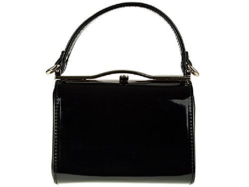 Top Rigid Party Handbag Purse Black Women's Bag Ladies K16688 Box Patent Handle Messenger Clutch wgWzPPXtq